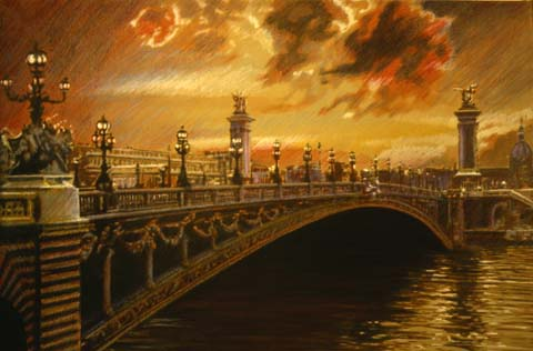 pont (bridge) alexandre 3, paris, painting, pastels