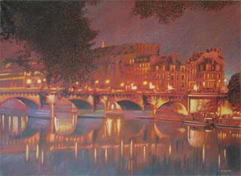 pont neuf, oil on canvas by michel leconte